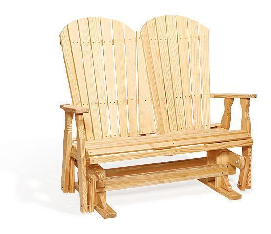 Amish Pine Fan Back Glider Bench