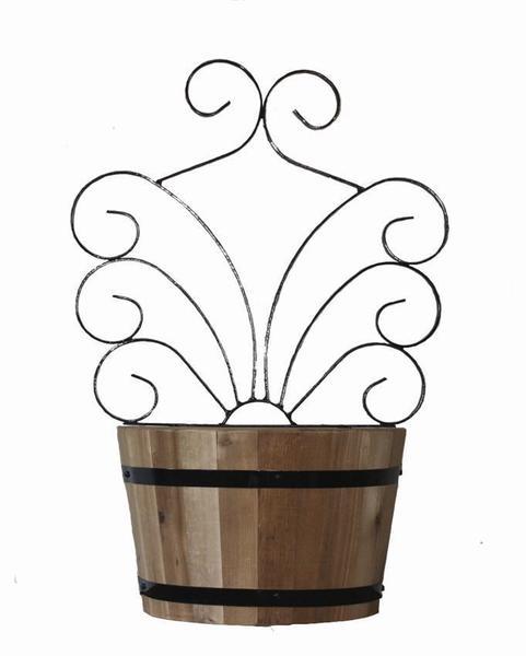 Vintage Oak Half Barrel Planter with Trellis