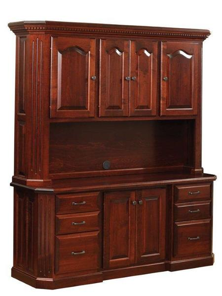 Amish Fifth Avenue Office Credenza with Hutch Top