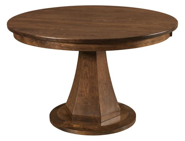 "Amish Emerson 48"" Round Dining Table with 1 Leaf - Quick Ship"
