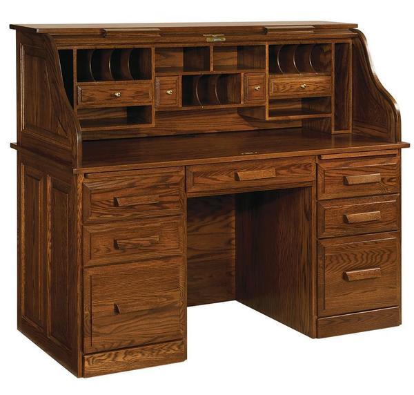 Amish Farmer's Oak Wood Roll Top Desk - Quick Ship