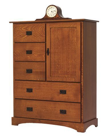 Amish Old English Mission Chest of Drawers With Door