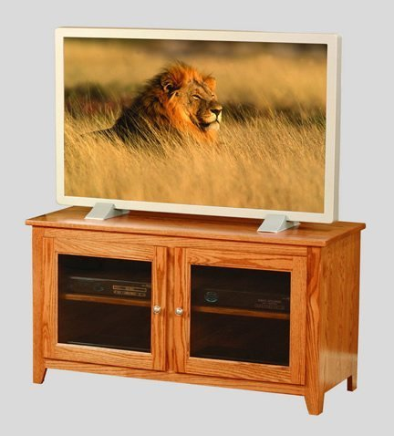 Amish Economy Small TV Stand with Glass Doors - Quick Ship