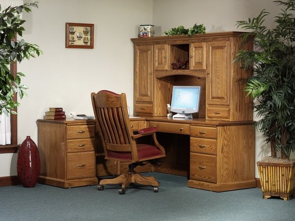 Amish Highland L Desk with Storage Hutch Top