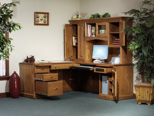Amish Highland L-Desk with Hutch Top