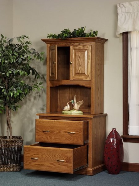 Amish Highland File Cabinet with Short Door Bookcase