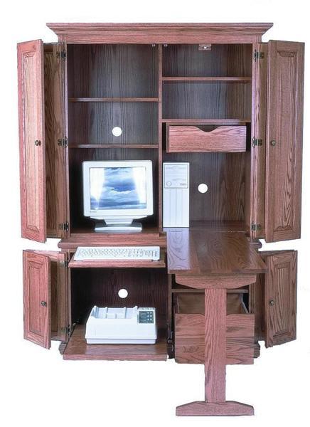 "Amish 51"" Deluxe Computer Armoire Desk"