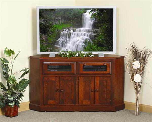 Amish Shaker Corner TV Stand with Raised Panel Doors