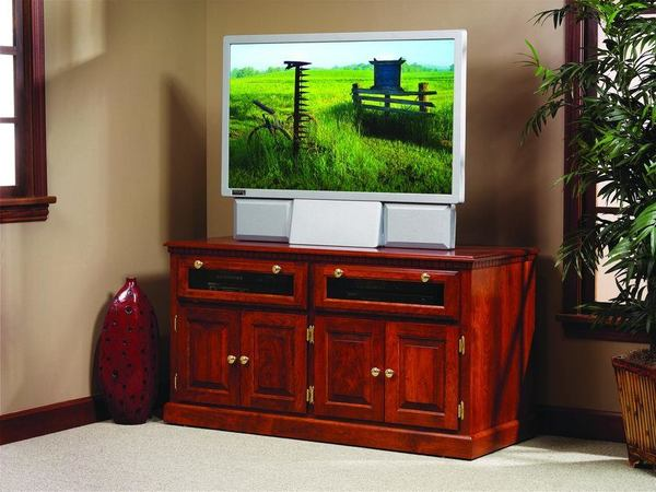Amish Traditional Square TV Stand with Raised Panel Doors