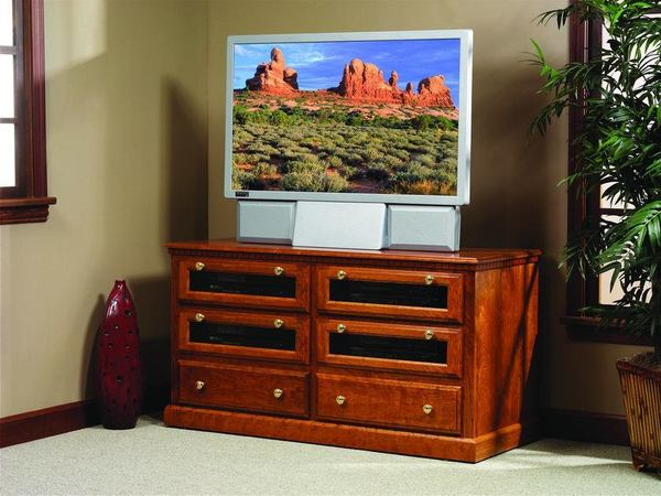 Amish Traditional Square TV Stand with Drawers