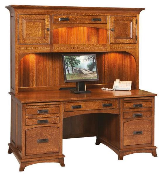 Amish Mt. Eaton Mission Executive Desk with Hutch Top
