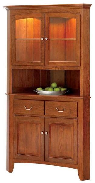 "Manchester 33"" Corner Buffet with Hutch by Keystone Collection"