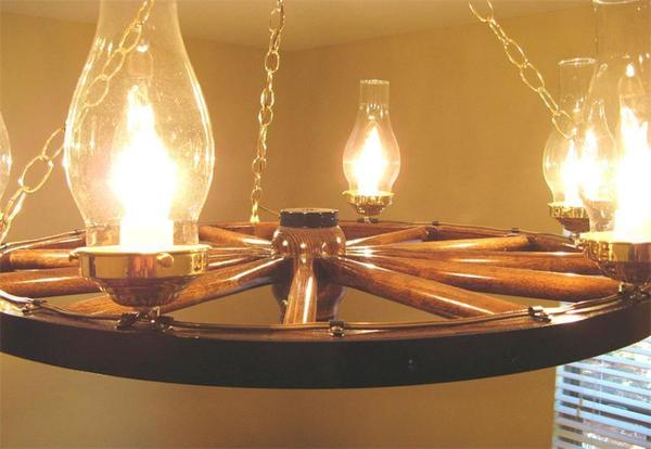 Amish Cart Wheel Chandelier
