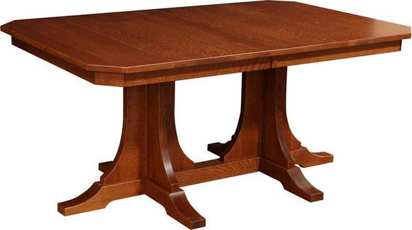 Amish Copper Canyon Mission Double-Pedestal Dining Room Table
