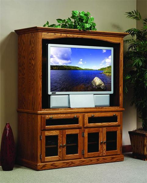 Amish Traditional Entertainment Center with Smoked Glass Doors