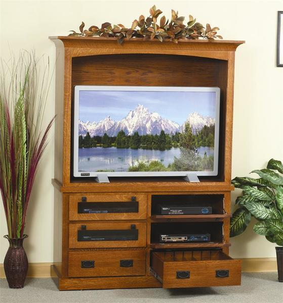 Amish Flat Wall HDTV Mission Entertainment Center