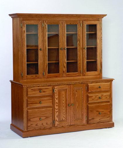 Amish Heirwood Storage Credenza with Hutch Top with Glass Doors