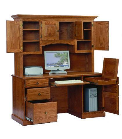 Amish Heirwood Computer Desk with Hutch Top