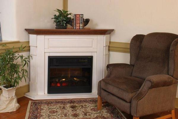 Amish Corner Electric Fireplace Mantel with Insert