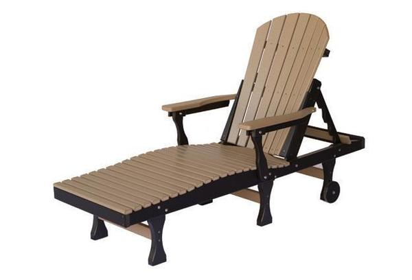 Berlin Gardens best poly wood patio chaise lounge chair in weatheredwood brown and black with arm rests