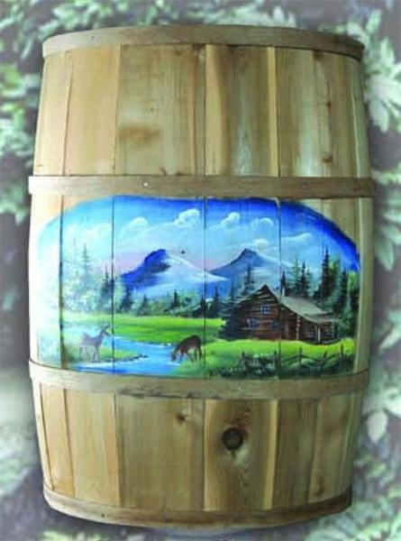 Wooden Barrel with Hand Painted Design