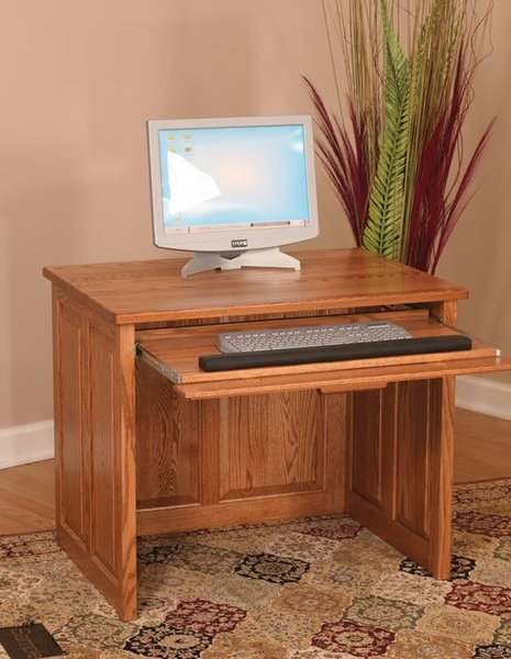"""Amish Flat Top Computer Desk 36"""" with Raised Panel Back"""