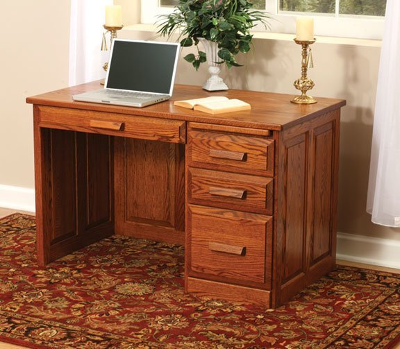Amish Flat Top Computer Desk with Raised Panel Back 48""