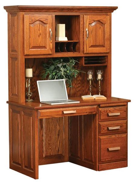 Amish Flat Top Computer Desk with Hutch Top 48""