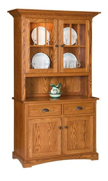 Amish Mission Two Door Hutch with Short Top Doors