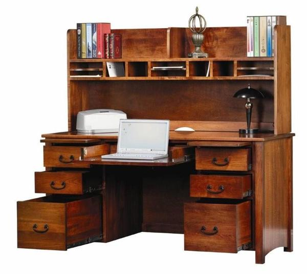 "Amish Rivertowne 60"" Desk with Open Hutch Top"