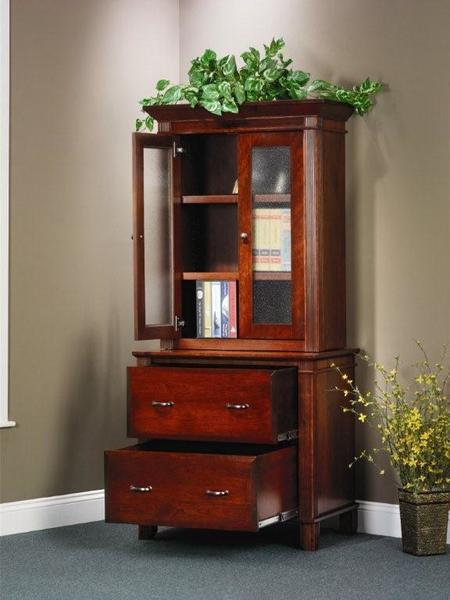 Amish Arlington Executive Lateral File Cabinet with Hutch Bookcase