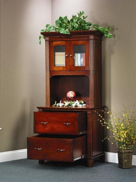 Amish Arlington Executive Lateral File Cabinet with Open Hutch Top