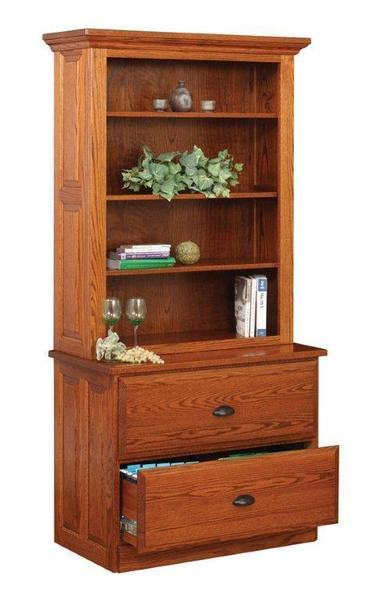 Amish Lateral Two Drawer File Cabinet with Hutch Top