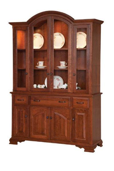 Amish Queen Anne Formal Hutch with Four Doors and Three drawers in the Base and Four Full Glass Doors in the Top