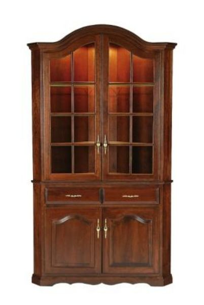 Amish Queen Anne Solid Wood Corner Hutch - Lifetime Warranty