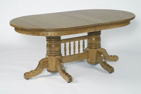 "Amish 72"" Double Pedestal Oval Dining Table with Center"