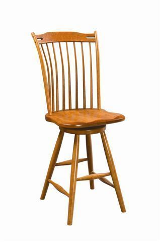 Amish Thumb Back Windsor Swivel Bar Stool