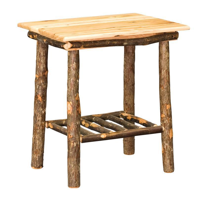 Amish Hoosier Rustic Hickory Wood End Table