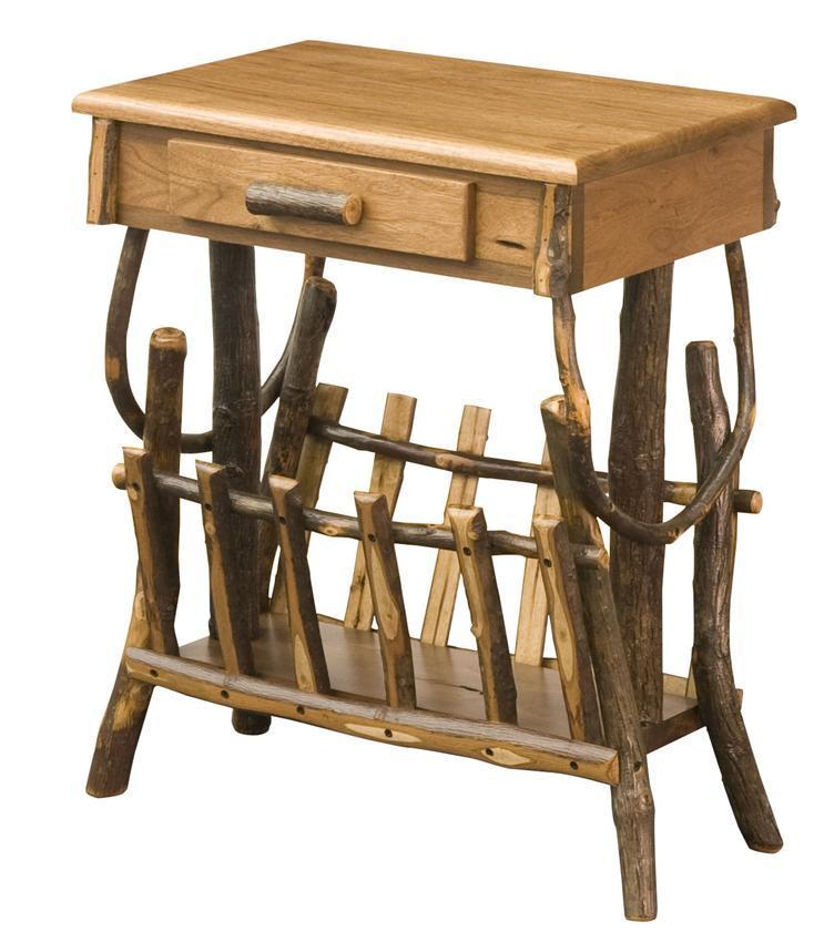 Amish Rustic Hickory Magazine Rack End Table