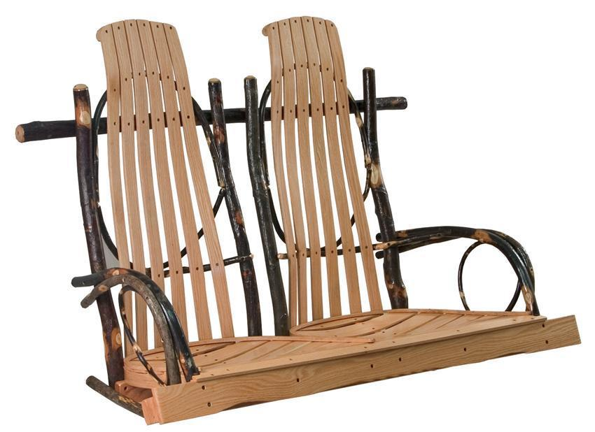 Amish Hickory Double Rocker Style Porch Swing From