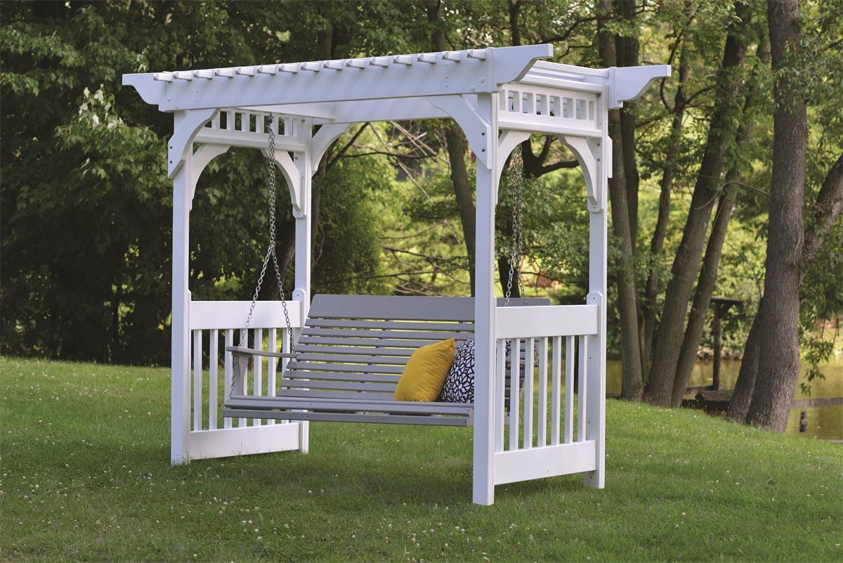 berlin gardens vinyl swing arbor from dutchcrafters amish. Black Bedroom Furniture Sets. Home Design Ideas