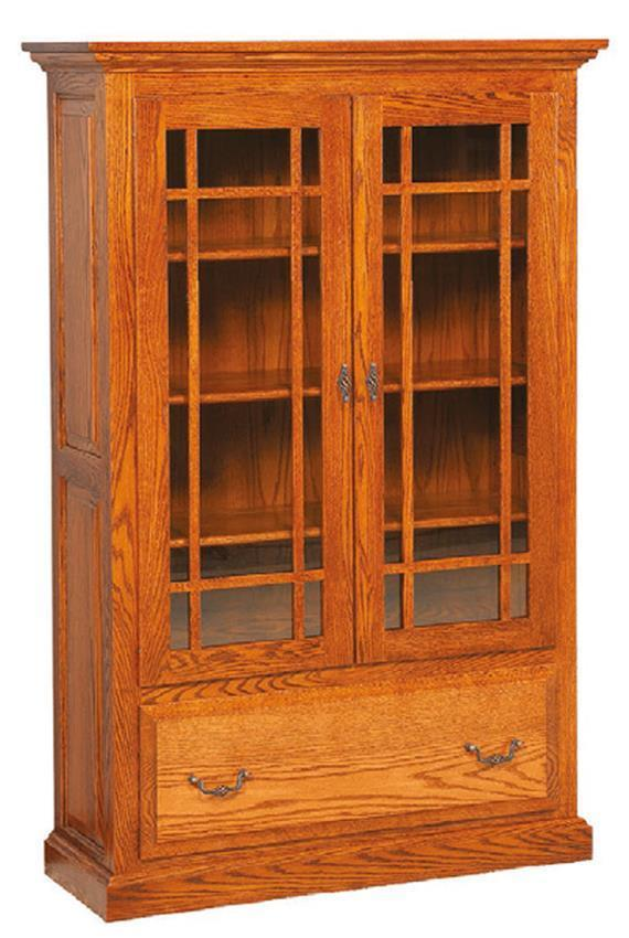 Solid Wood Raised Panel Bookcase With Glass Doors From Dutchcrafters