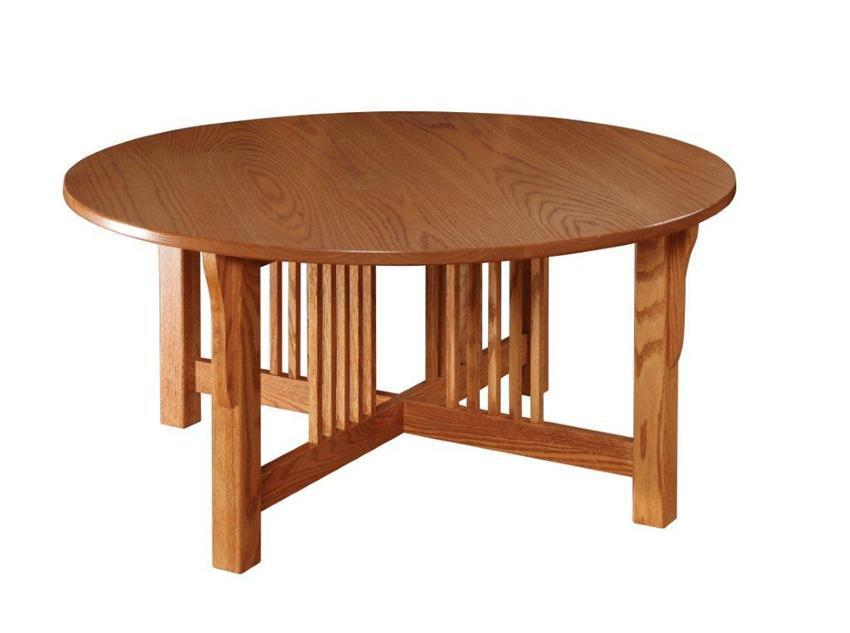 Mission Round Table.Amish Prairie Mission Round Coffee Table