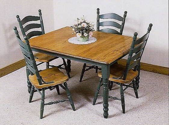 Amish Deluxe Farmhouse Leg Table In Maple, Oak, Elm, Or