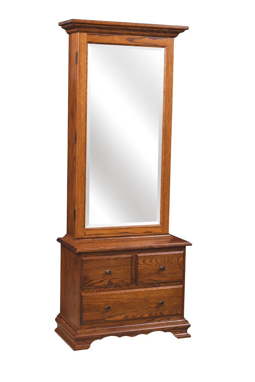 Mirrored Jewelry Armoire with Three Drawers Base from ...