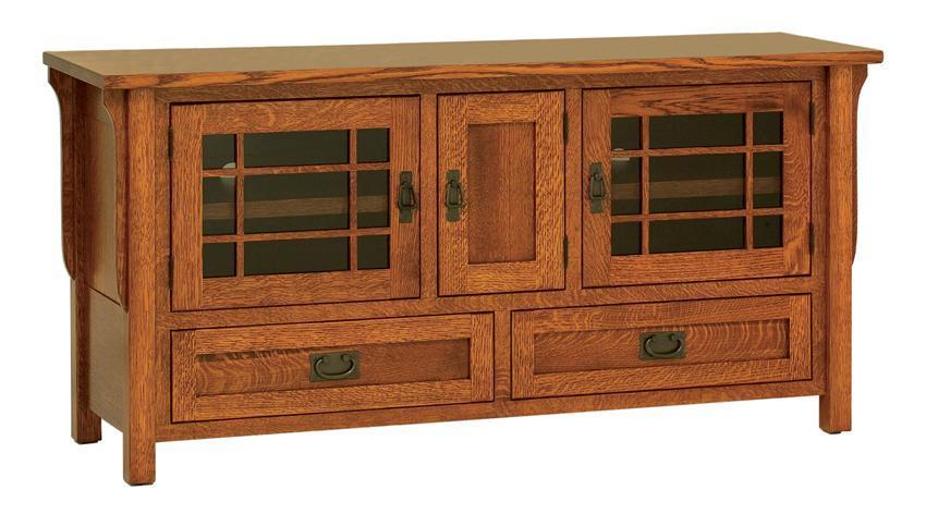 Amish Lancaster Mission Tv Stand With Three Doors