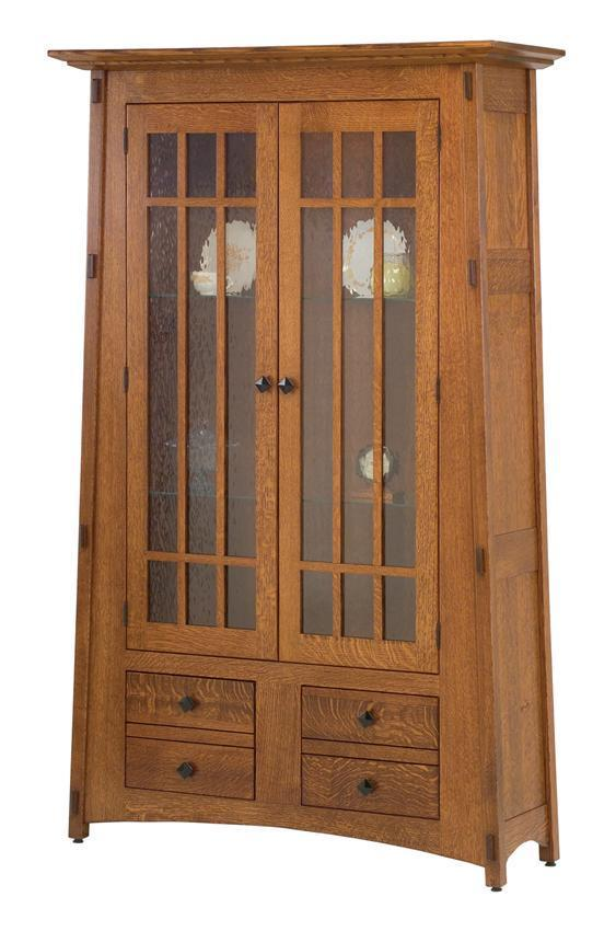 Amish Mccoy Mission Bookcase With Full Glass Mullion Doors