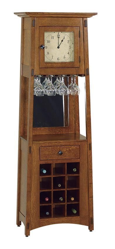 Amish Mccoy Mission Wine Rack Clock