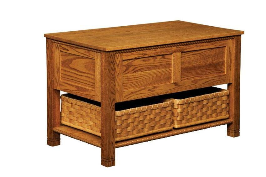 amish lattice weave coffee table with storage baskets. Black Bedroom Furniture Sets. Home Design Ideas