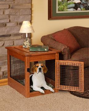 cool end table dog crate furniture | Amish Made Dog Crate End Table